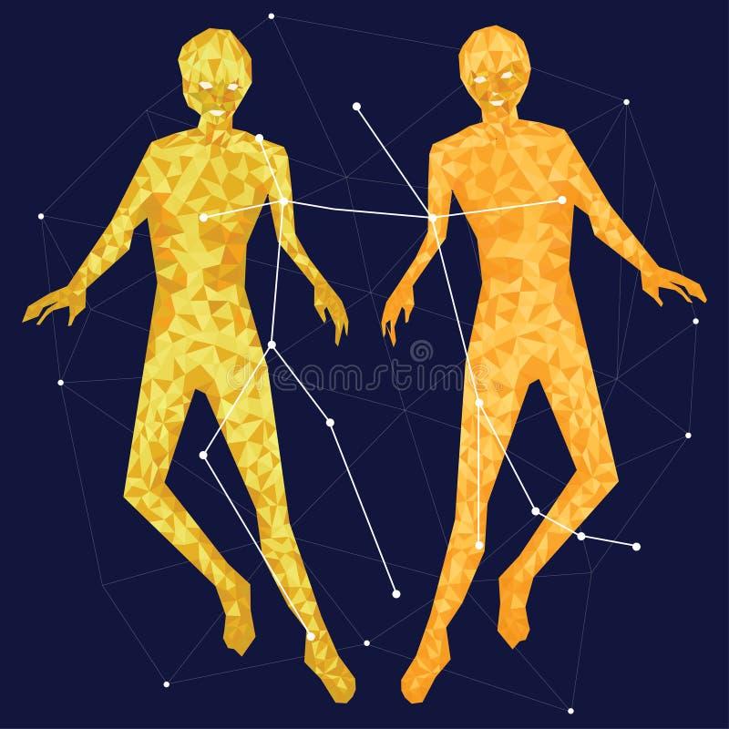Gouden constellatie op een blauwe achtergrond die door lijnen en sterren wordt omringd stock illustratie