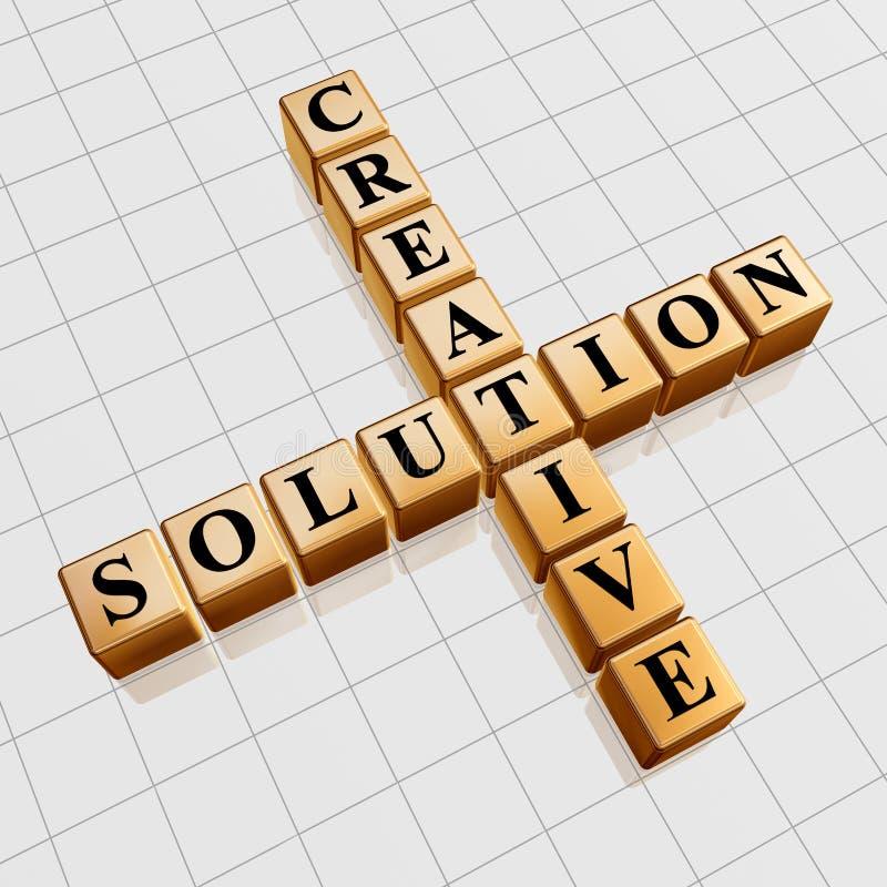 Gouden creatieve oplossing zoals kruiswoordraadsel royalty-vrije illustratie