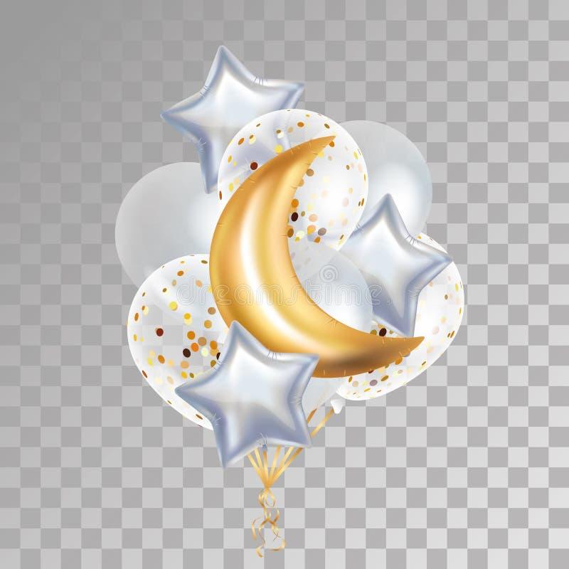 Gouden Crescent Moon-ballonramadan vector illustratie