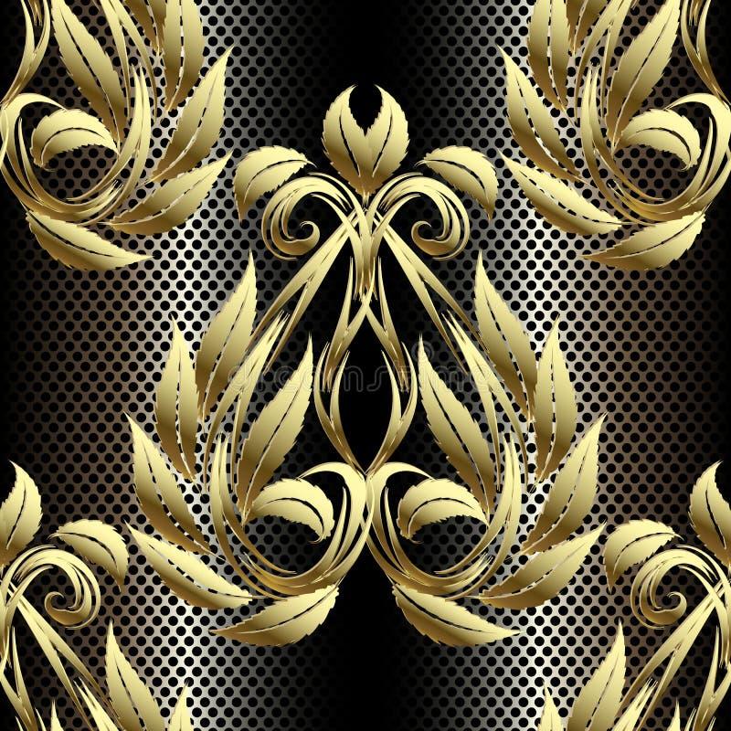 Gouden 3d Barok uitstekend naadloos patroon Achtergrond van het damast de siernet Geweven herhaal kantachtergrond Gouden getrokke stock illustratie