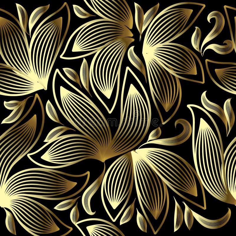 Gouden 3d bloemen vector naadloos patroon   vector illustratie