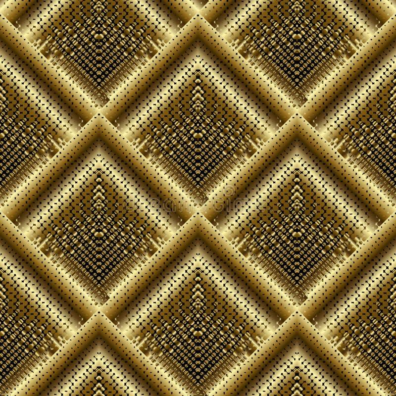 Gouden 3d halftone betegeld ruit naadloos patroon Gestippeld vectorg vector illustratie