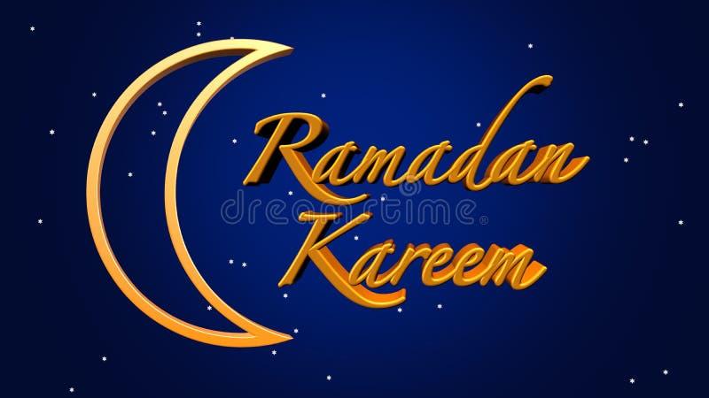Gouden 3D illustratie de vakantieachtergrond van van Ramadan Kareem ' Vakantie en vieringsachtergrond royalty-vrije illustratie