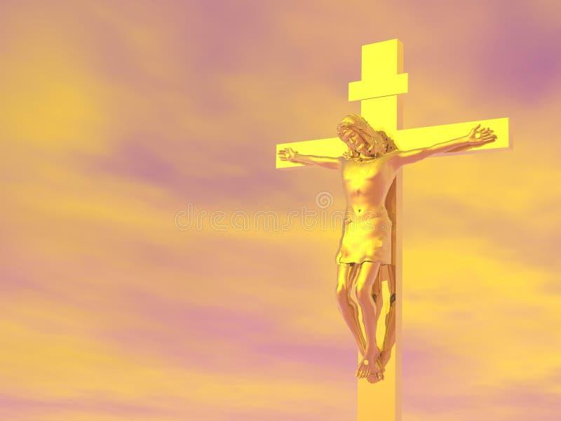 Gouden 3D kruis - geef terug royalty-vrije illustratie