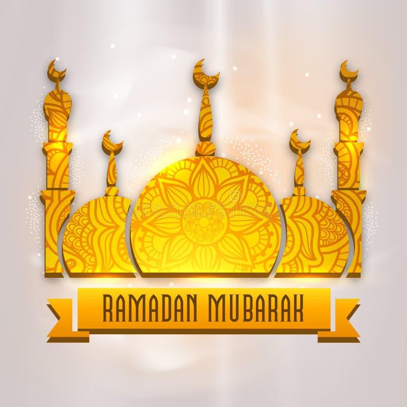 Gouden 3D Moskee voor Ramadan Mubarak vector illustratie
