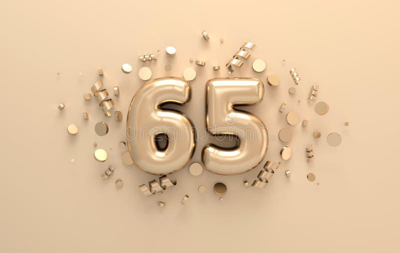 Gouden 3d nummer 65 met feestelijke confettien en spiraalvormige linten 3d geef terug stock illustratie