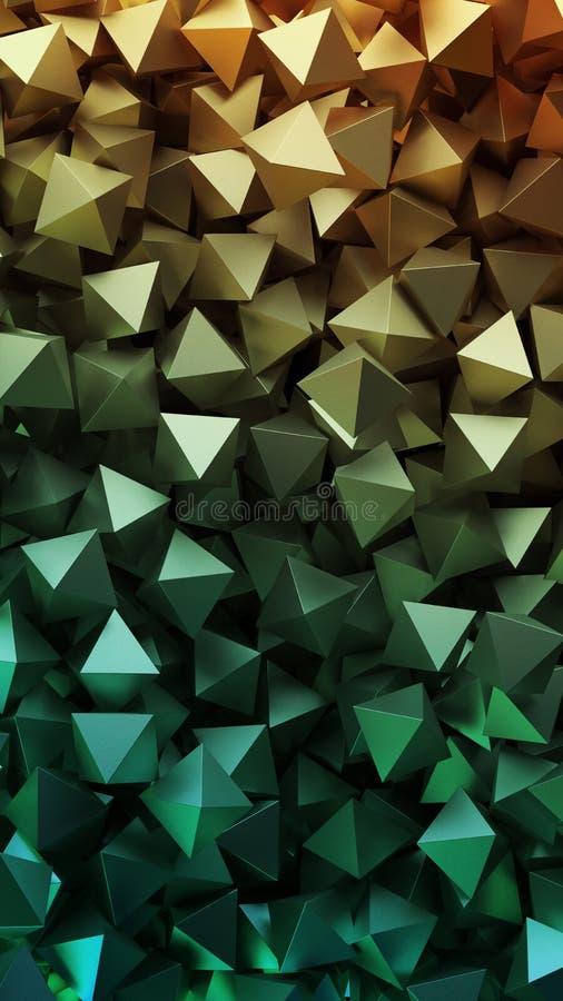 Gouden 3D piramides Illustratie royalty-vrije illustratie