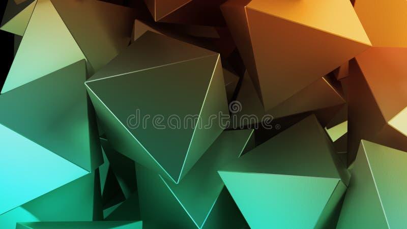 Gouden 3D piramides Illustratie abstracte achtergrond stock illustratie