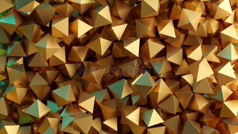 Gouden 3D piramides Illustratie abstracte achtergrond royalty-vrije illustratie