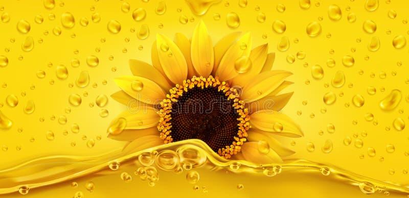 Gouden dalingen De olie van Unflower 3d vector royalty-vrije illustratie