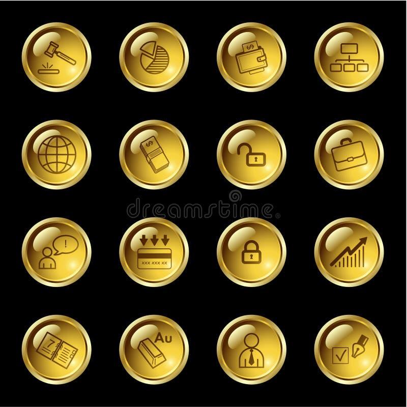 Gouden dalings bedrijfspictogrammen vector illustratie