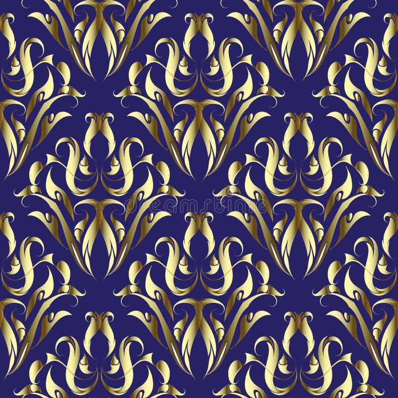 Gouden Damast bloemen vector naadloos patroon Sierelegantie donkerblauwe achtergrond Gouden uitstekende bloemen, bladeren, wervel stock illustratie