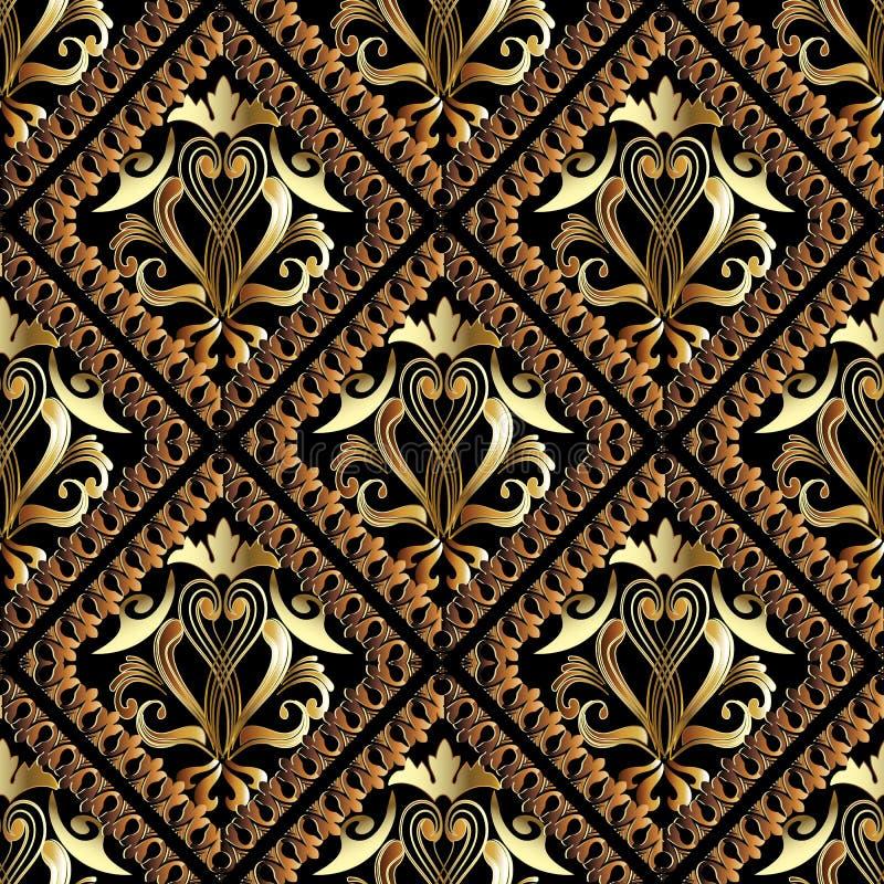 Gouden damast vector naadloos patroon Geometrische wallpa als achtergrond royalty-vrije illustratie