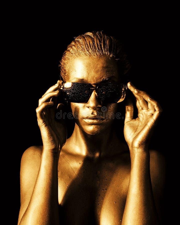Gouden dame royalty-vrije stock fotografie