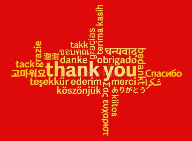 Download Gouden Dank U Verwoorden Wolk In Verschillende Talen Op Rode Achtergrond Vector Illustratie - Illustratie bestaande uit gekleurd, concepten: 114228346
