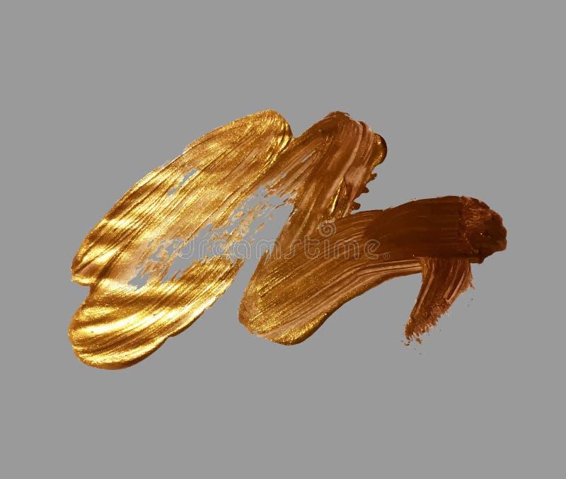 Gouden de borstelslag van de handtekening vector illustratie