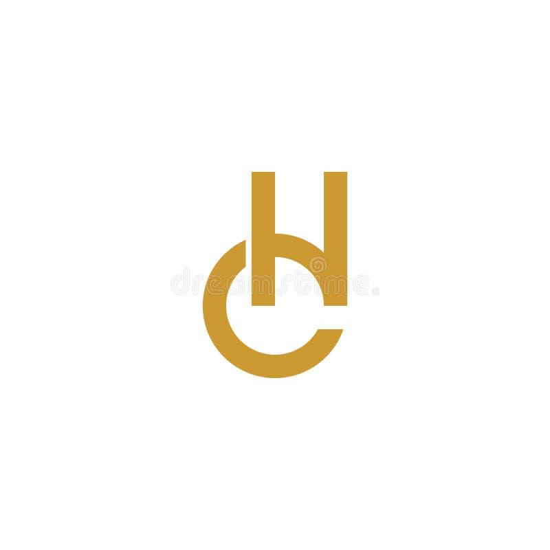 Gouden de brieven aanvankelijk embleem van CH royalty-vrije illustratie