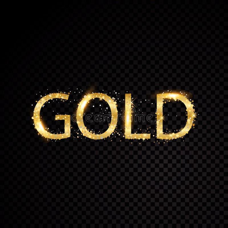Gouden de brievenkader van de sterfonkeling Geïsoleerd op zwarte transparante achtergrond Vector illustratie stock illustratie