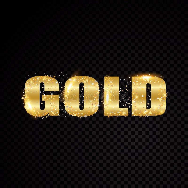 Gouden de brievenkader van de sterfonkeling Geïsoleerd op zwarte transparante achtergrond Vector illustratie vector illustratie