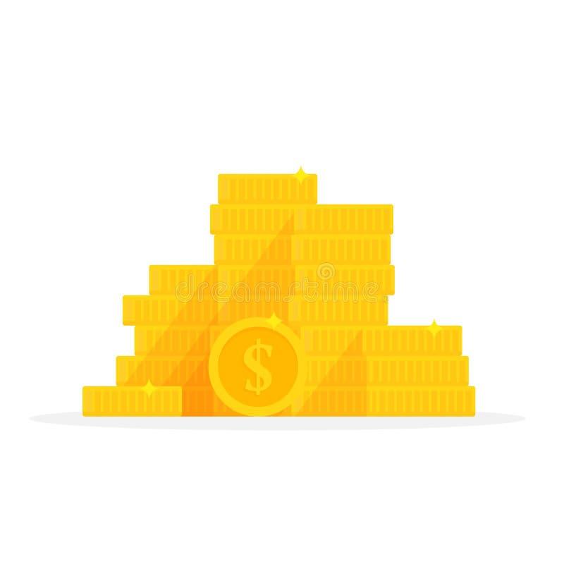 Gouden de dollarsymbool van de muntstukkenstapel Het beeldverhaal vectorillustratie van de geldstapel royalty-vrije illustratie