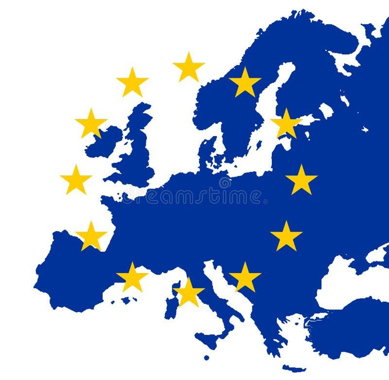 Gouden de EUsterren op blauw Europa stock illustratie