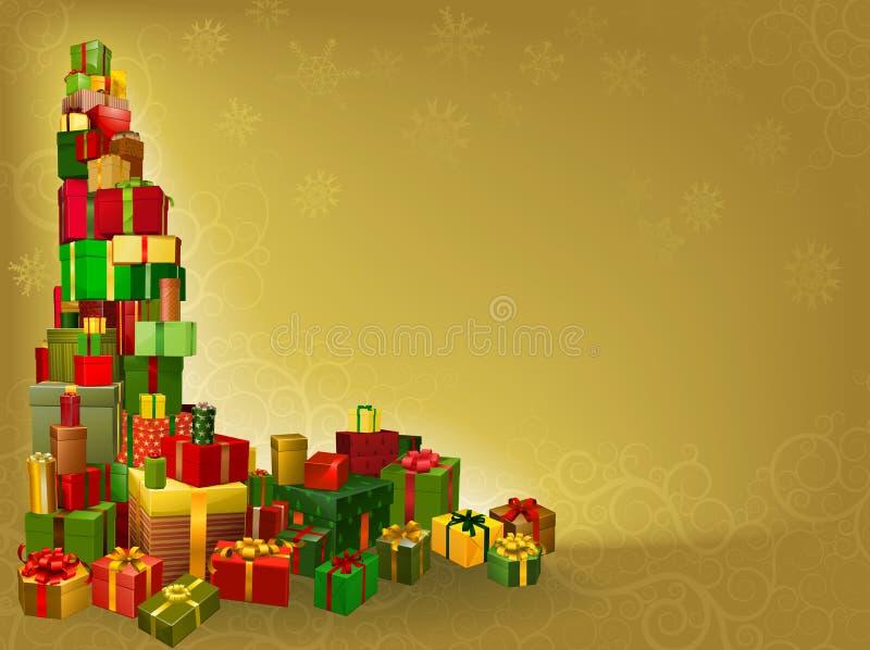 Gouden de giftachtergrond van Kerstmis vector illustratie