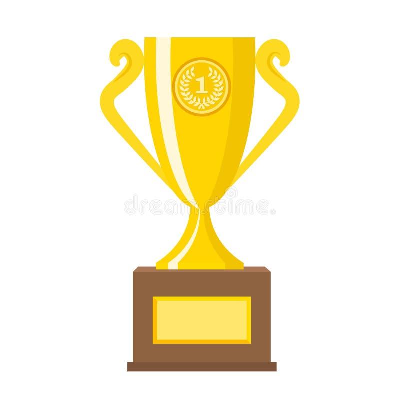 Gouden de koppen vlakke vectorpictogrammen van de winnaar gouden trofee voor sportenkampioen vector illustratie