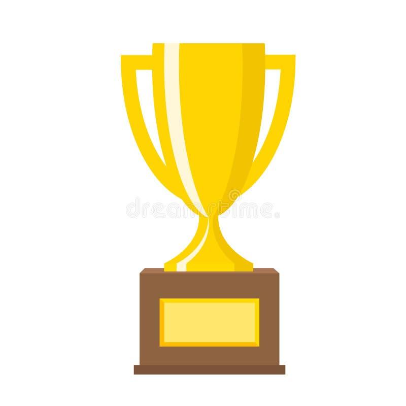 Gouden de koppen vlakke vectorpictogrammen van de winnaar gouden trofee voor sportenkampioen royalty-vrije illustratie