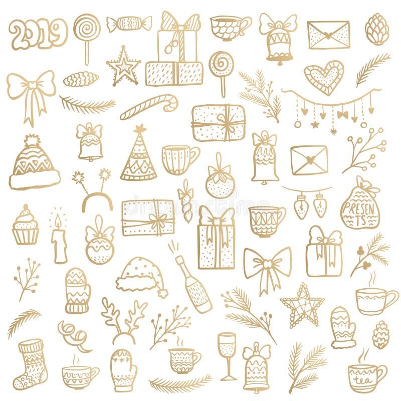 Gouden de kunstreeks van de Kerstmislijn Vrolijke Kerstmis en Gelukkig Nieuwjaar stock illustratie