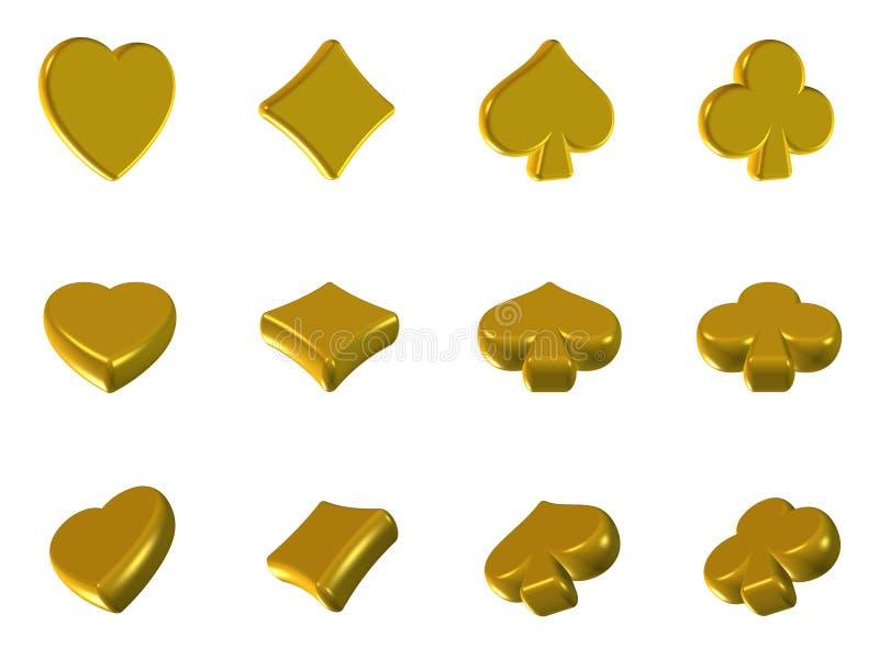 Gouden de pictogrammen van de pook royalty-vrije illustratie