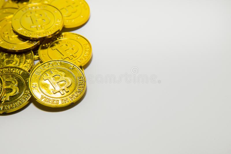 Gouden de schotencrypto van Bitcoinof van BTCimage Macromunt Bitcoin c stock afbeeldingen