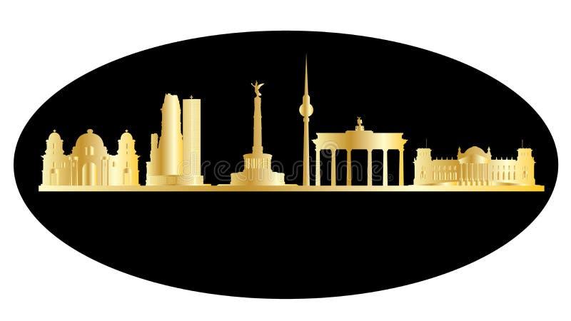 Gouden de stadshorizon van Berlijn royalty-vrije illustratie