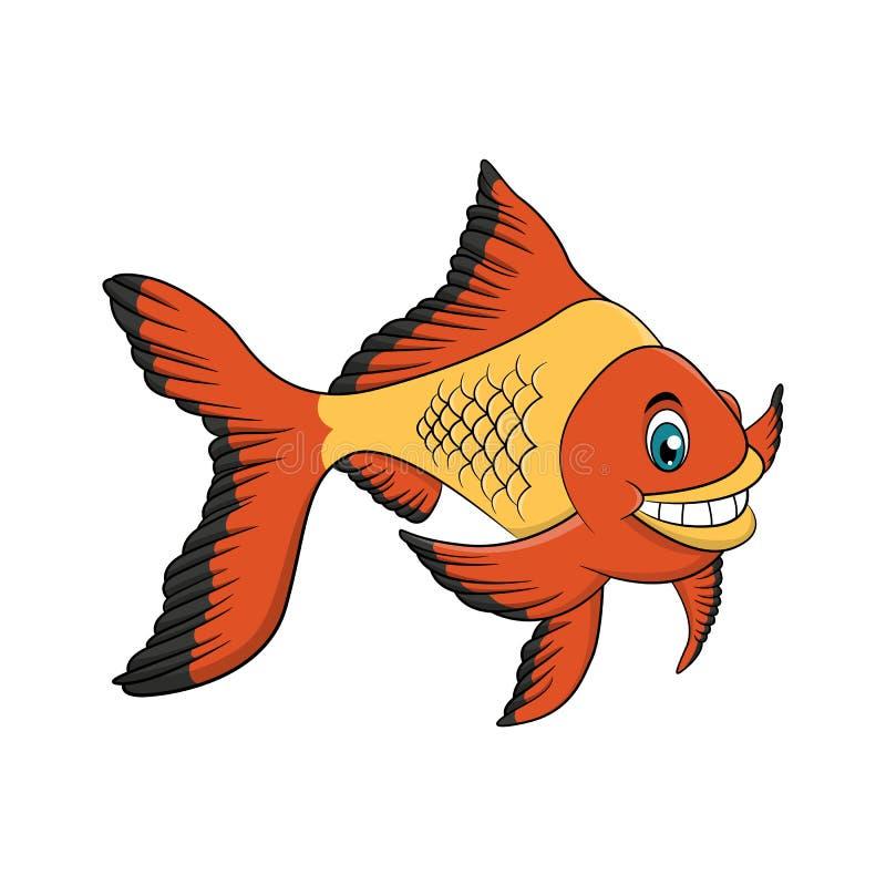 Gouden de tekeningsillustratie van het vissenbeeldverhaal stock illustratie