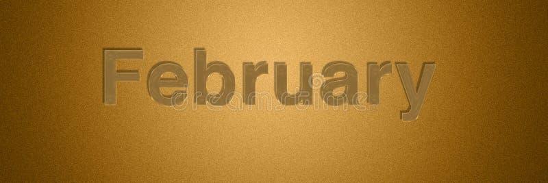 Gouden de teksttitel van februari voor maand achtergrondontwerp royalty-vrije illustratie
