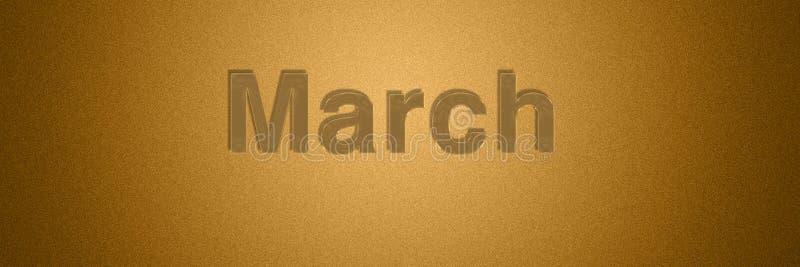 Gouden de teksttitel van maart voor maand achtergrondontwerp royalty-vrije illustratie