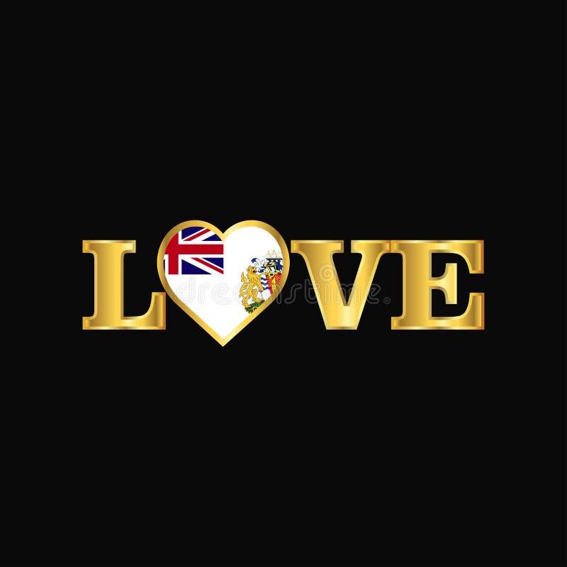 Gouden de vlagontwerp v van het Grondgebied van de Liefdetypografie Brits antarctisch royalty-vrije illustratie