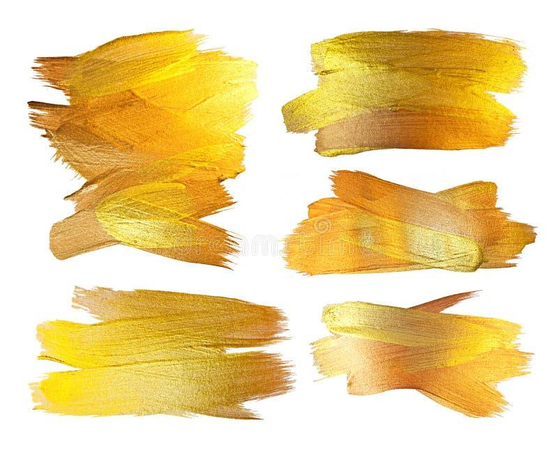 Gouden de Vlekillustratie van de Textuurverf Hand getrokken het ontwerpelement van de borstelslag stock foto
