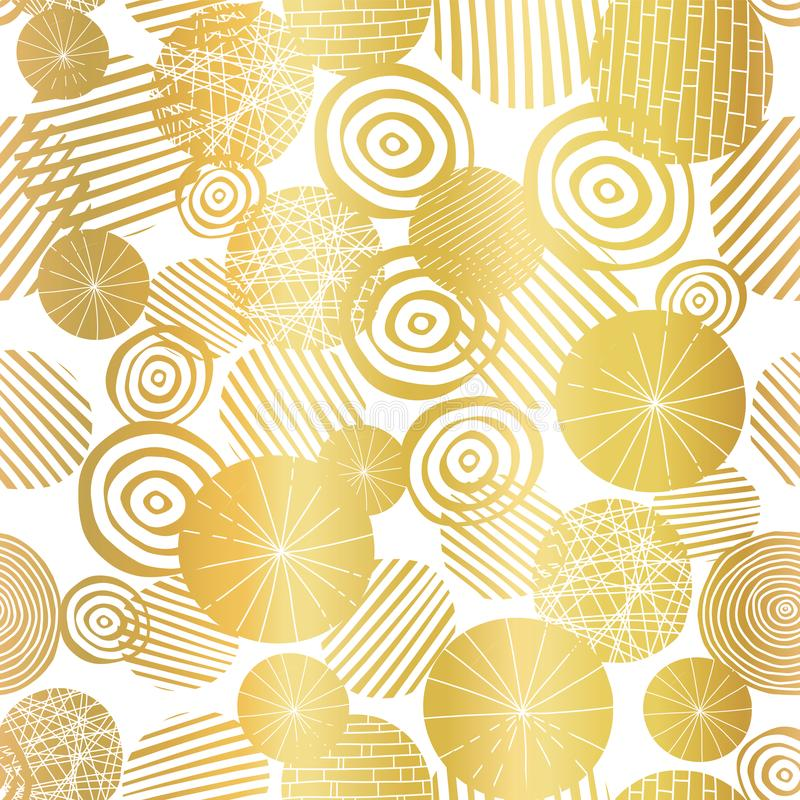 Gouden de vormen naadloos vectorpatroon van de folie geweven cirkel Gouden abstracte cirkels op witte achtergrond Elegant ontwerp vector illustratie