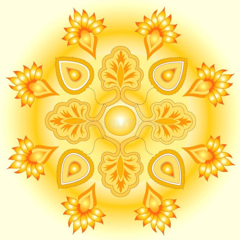 Gouden de zonontwerp van Mandala royalty-vrije illustratie