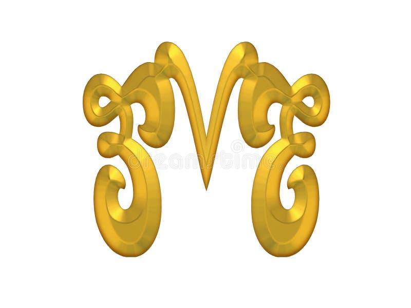 Gouden Decoratief bloeit vector illustratie