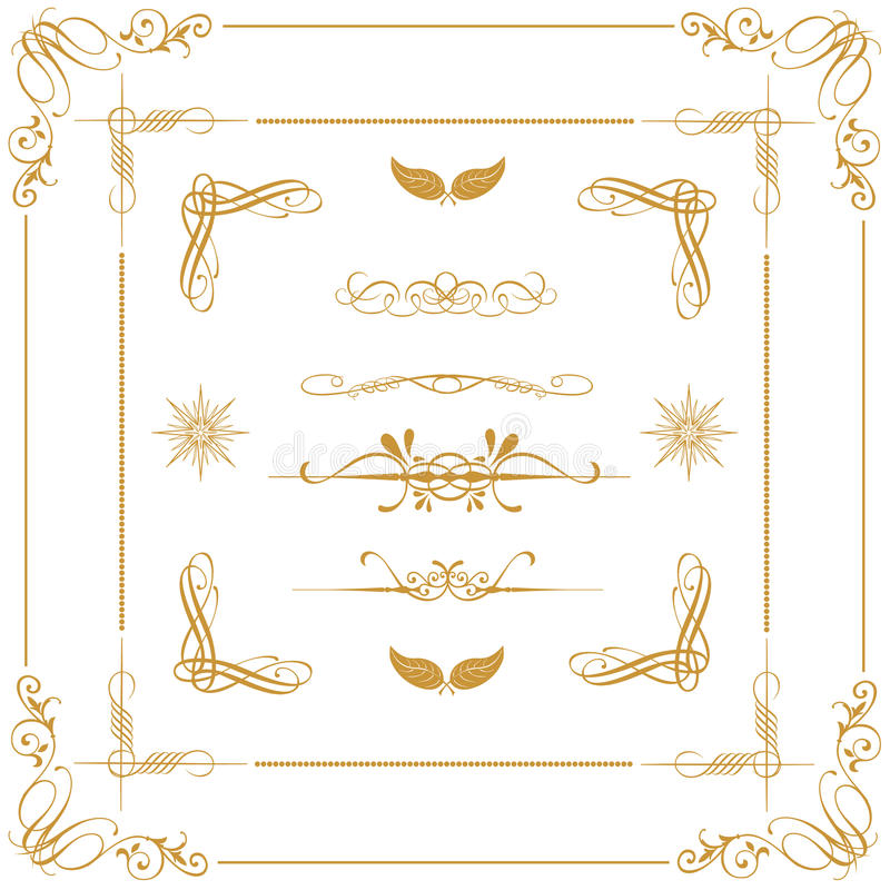 Gouden decoratieve elementen stock illustratie