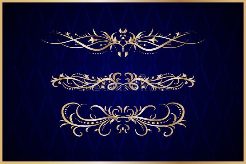 Gouden decoratieve elementen royalty-vrije illustratie