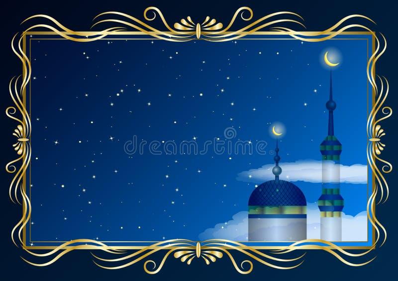 Gouden decoratieve kader en moskee, minaret op de achtergrond van de sterrige hemel vector illustratie