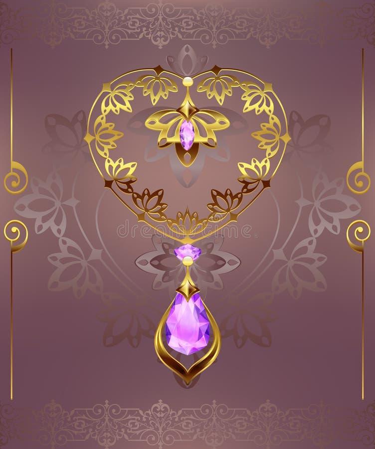 Gouden decorhart met de diamanten van juwelenkiezelstenen op een bloemenachtergrond met art decoornament royalty-vrije illustratie