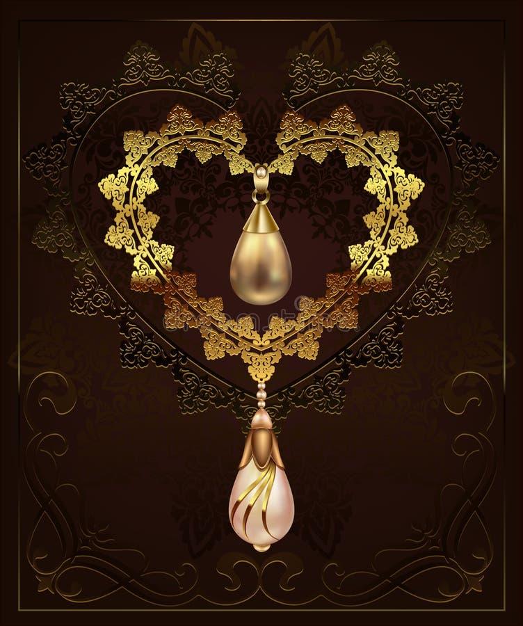 Gouden decorhart met de diamanten van juwelenkiezelstenen op een bloemenachtergrond met art decoornament vector illustratie