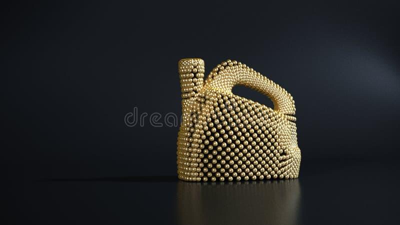 Gouden deeltjesgallon, de jerrycan van de motorolie stock foto