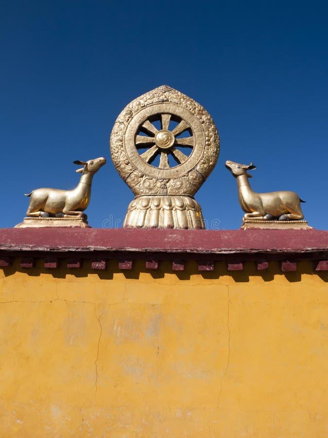 Gouden Dharma Wiel, Tempel Jokhang royalty-vrije stock afbeeldingen