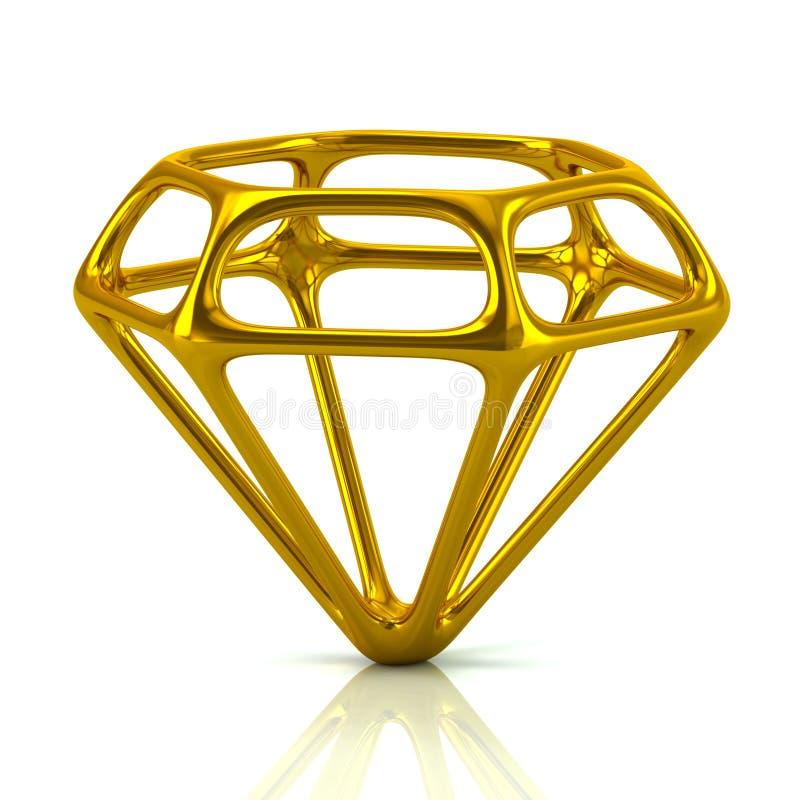 Gouden diamant 3d illustratie vector illustratie