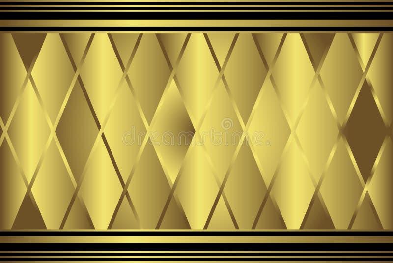 Gouden diamant geometrisch patroon stock illustratie