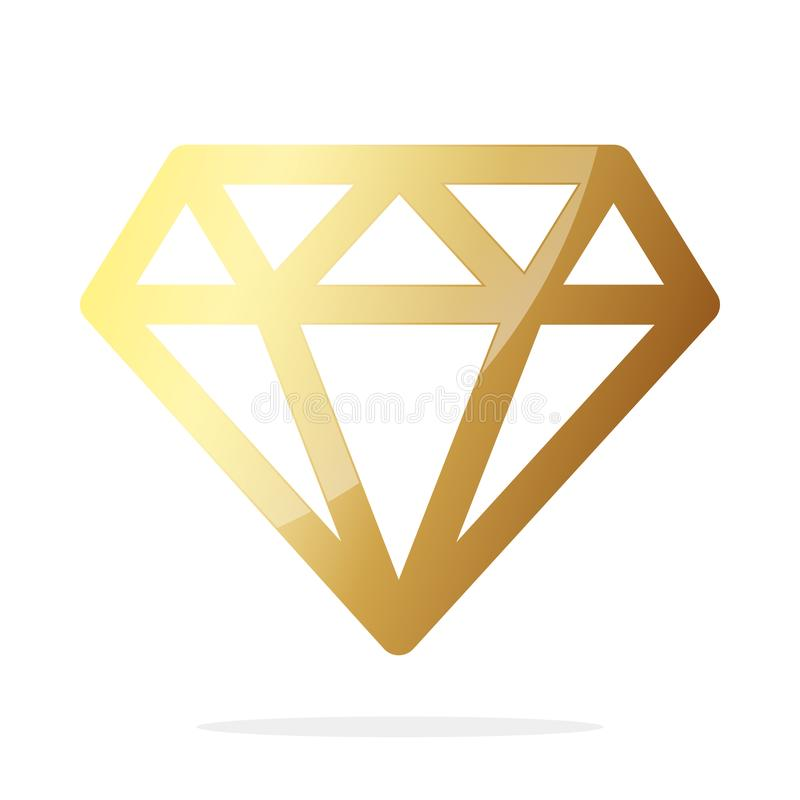 Gouden diamantpictogram Vector illustratie stock illustratie